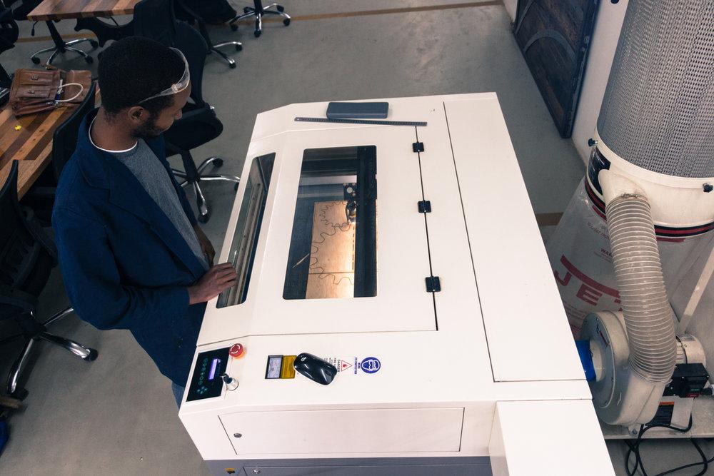 Laser cutting in progress