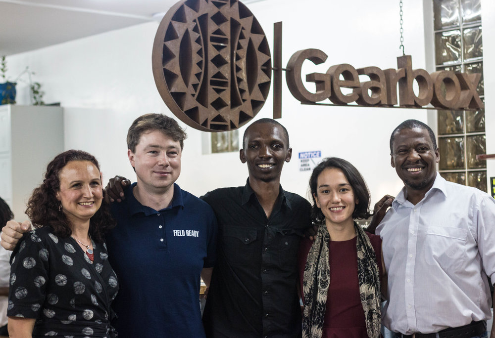 From left Makernet team Anna Lowe, Andrew Lamb, Michael Gathogo, Jessica Berlin & Gearbox Executive Director Dr. Kamau Gachigi