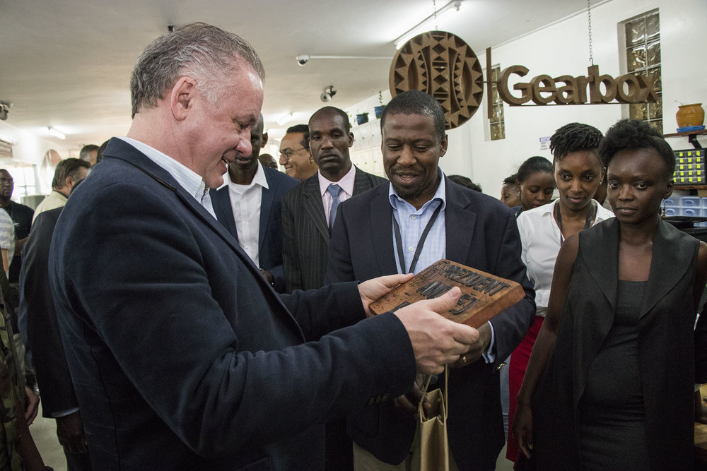 President Andrej Kiska receiving a gift from Gearbox