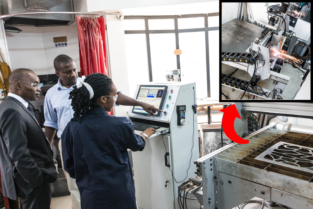 Sheila Wangari, a form four leaverdemonstrates the plasma cutter