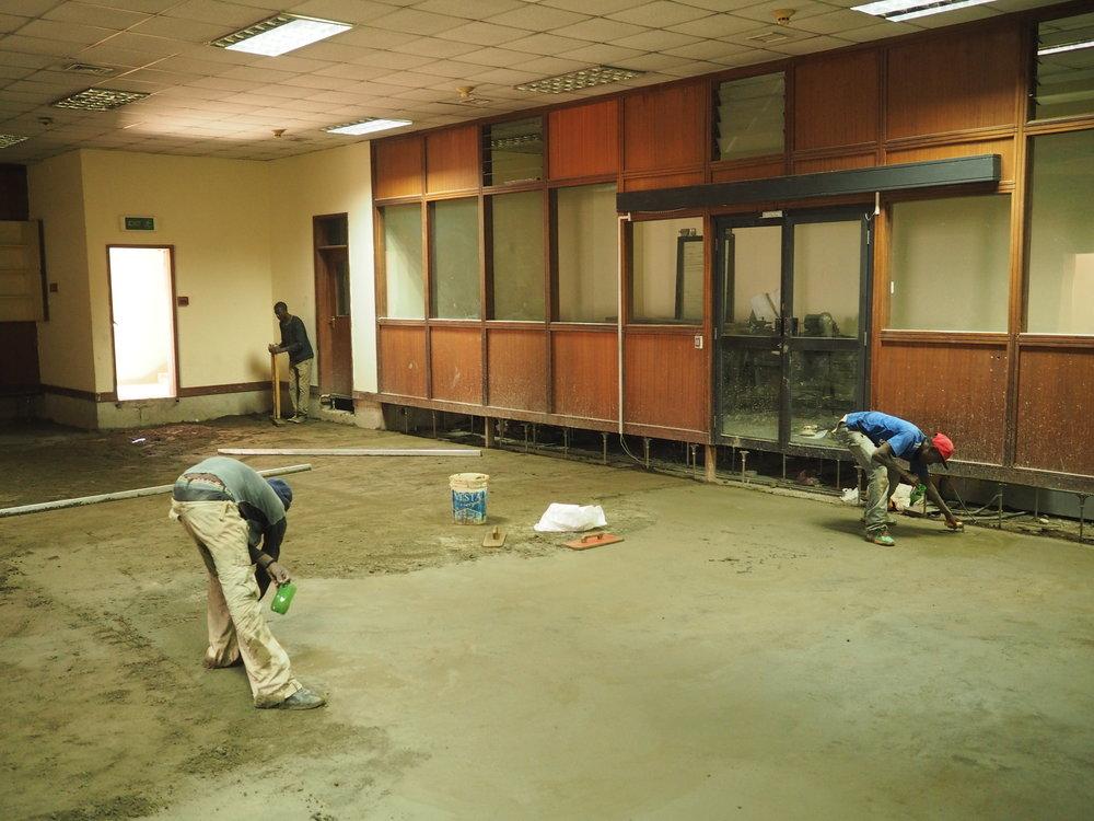 Removal of the ceiling and polishing of the floor