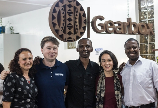 From left, Makernet team Anna Lowe, Andrew Lamb, Michael Gathongo, Jessica Berlin & Gearbox Executive Director Dr. Kamau Gachigi