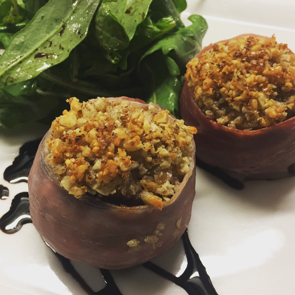 Grilled Figs - stuffed with Blue Cheese, topped with a walnut and parmesan crust and wrapped in crispy prosciutto