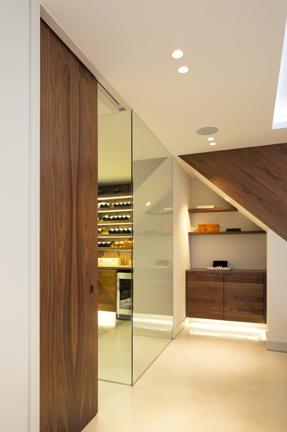 Under stair storage, staircase, wine store and sliding door - Photography - Jocelyn Low