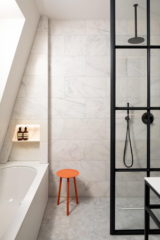 Bathroom vanity and stool