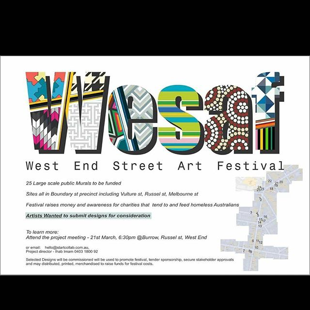 West end street art festival needs artists! Graff artists! Muralists!  25 street art pieces to be commissioned. Project meeting 21st march 6:30pm, Burrow, russel st, West End, Brisbane.  Using street art for a positive social impact - Festival to raise money and awareness for charity that feed and tend to homeless Australians.  Email hello@startcollab.com.au for more info.  #graff #art #festival #streetart #creative #mural #graffiti #brisbane #westend #culture #arts #event #share #aerosol #paint #ironlak #mtn #krylon #burner