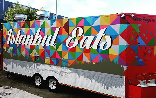 Istanbul Eats food trailer sorted.  The background reminds of the circus.  Had fun painting this one.  #signwriter #Aerosol #design #graphic #food #eststreet #brisbane #istanbuleats