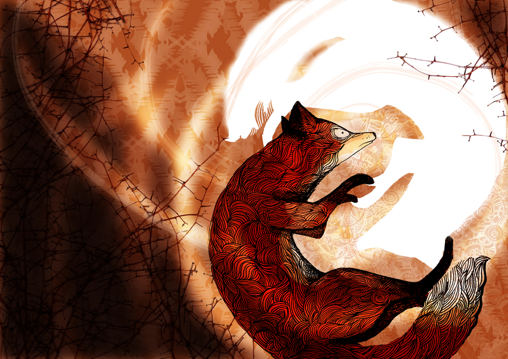 For my degree show at Edinburgh College of Art I created a wordless doublesided children's book about two foxes on the trail to find each other. This is the centre page where the two foxes meet.