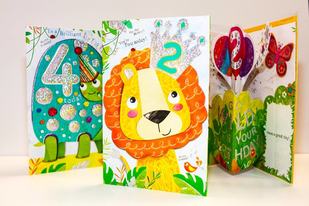 A range of collaged children's pop up greeting cards for The Art Group cards. These Jojo's Jungle designs are finished with a sparkly holographic foil.