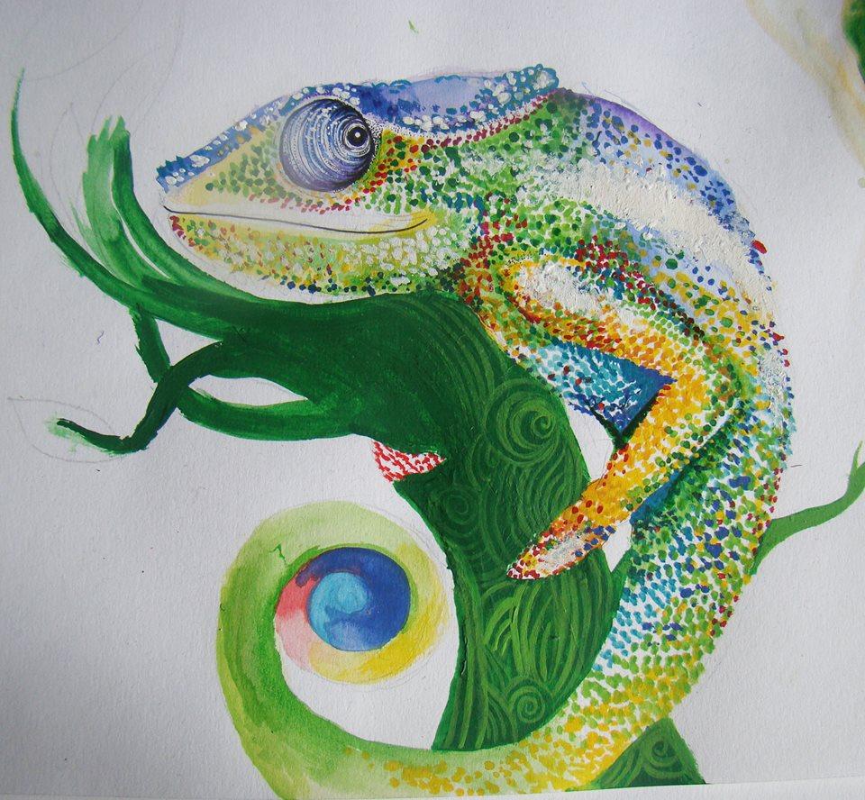 A quick pointillism chameleon painting/doodle!