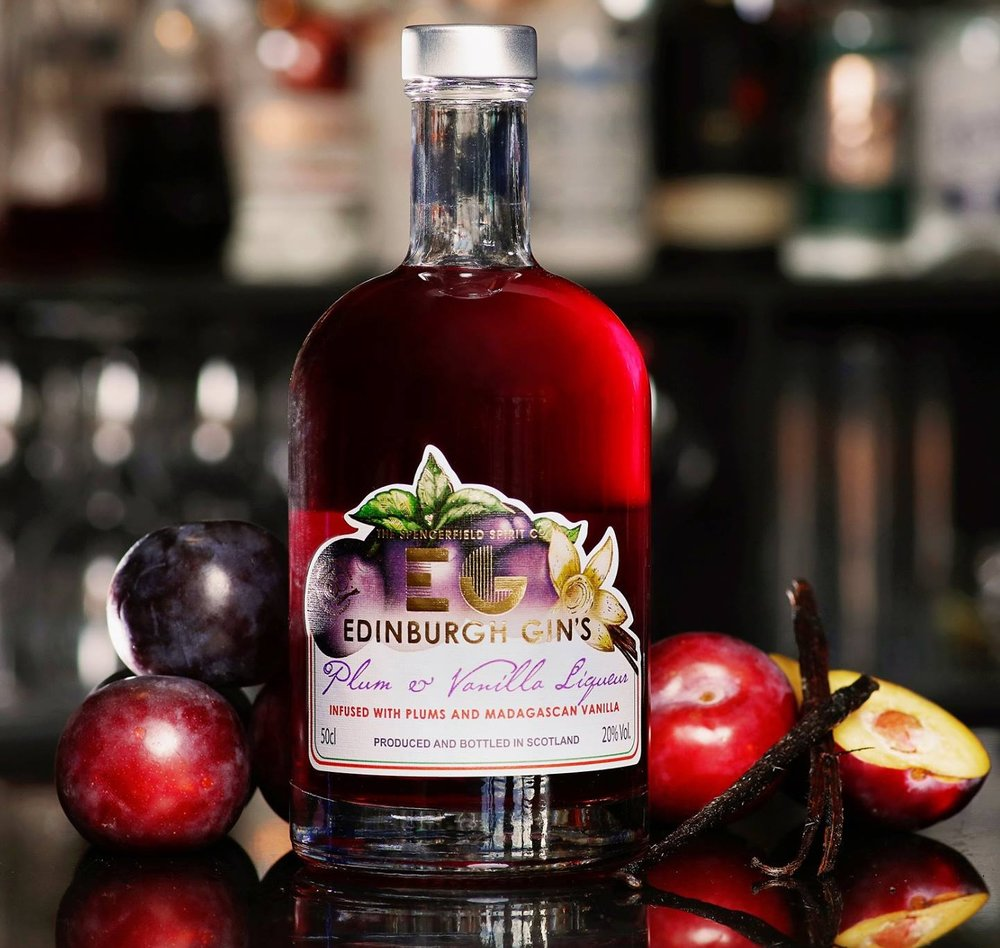 Label design commission from The Spencerfield Spirit Company to illustrate their Edinburgh Gin 'plum and vanilla liqueur.'  Photo credit: Spencerfield Spirit Co.