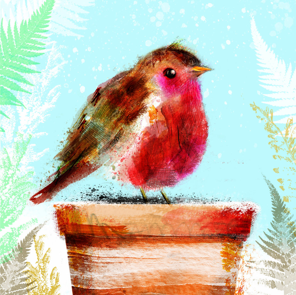A digital painting of a little chubby robin for a Christmas card collection 'Moonlit Forest' from  The Art Group.