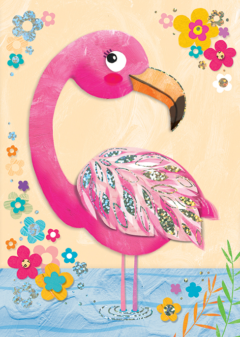 Jojo's Jungle Flamingo collaged greeting card for the  Art Group.