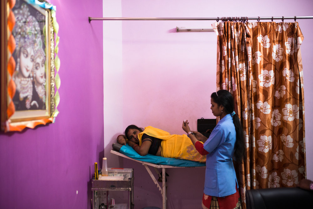 October, 2016. Rawat Hospital, Agra, Uttar Pradesh, India.  Neelam Bhagaur gets a DMPA injection at Dr. Neelam Rawat's clinic. She's been on DMPA since the last three years.