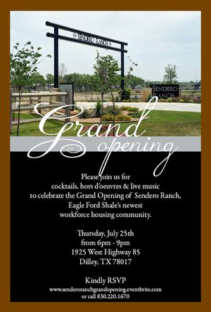 Sendero Ranch Grand Opening Invitation - 300 px