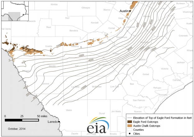 Eagle Ford elevation map 2015