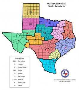 Texas Oil & Gas Railroad Commission District Boundaries