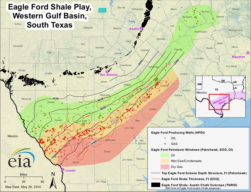 Eagle Ford Shale Maps Eagle Ford Shale Play - Oil from texas in us map