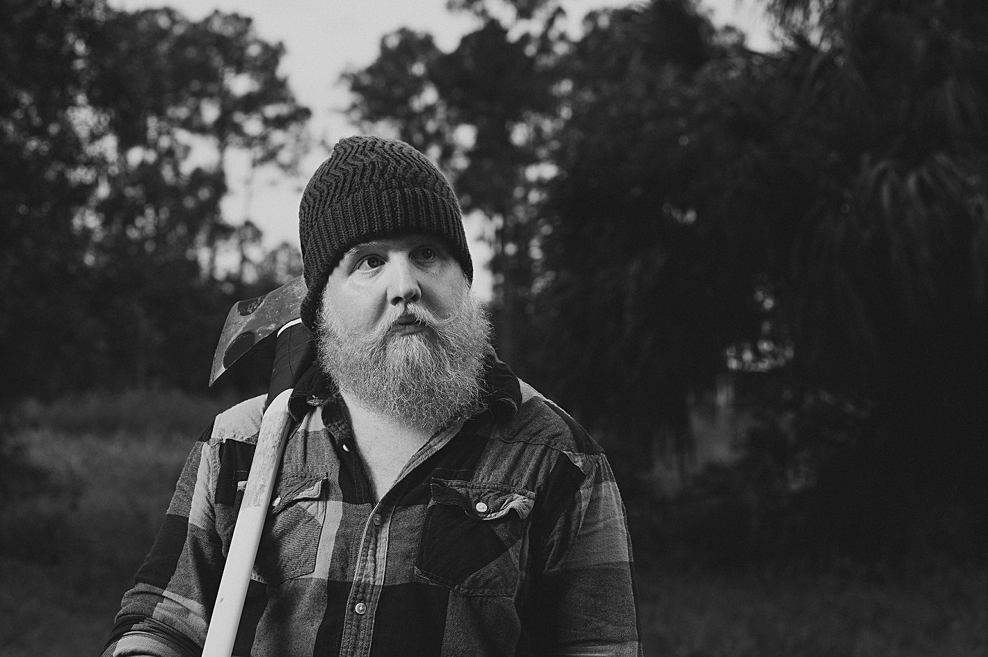portrait photographers in florida, men with beards, lumberjack, axemen