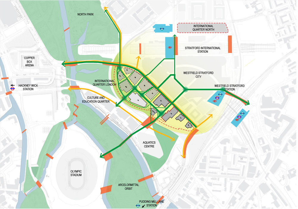 Diagram showing pedestrian connections with surrounding context and 'green' connections to adjacent landscape within Queen Elizabeth Olympic Park