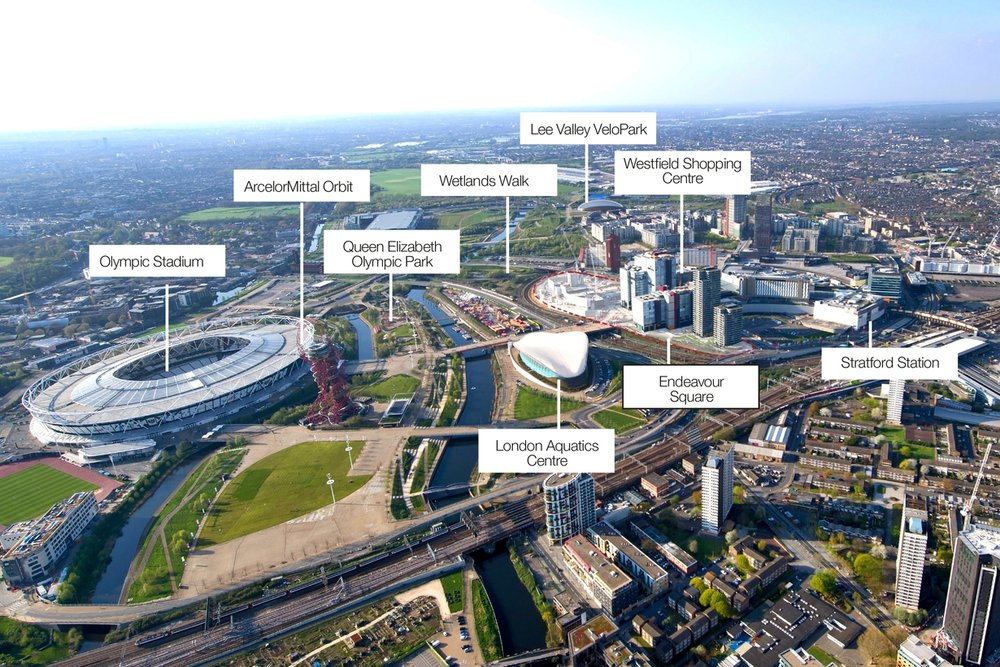 Aerial photo showing surrounding urban context and location adjacent to Queen Elizabeth Olympic Park