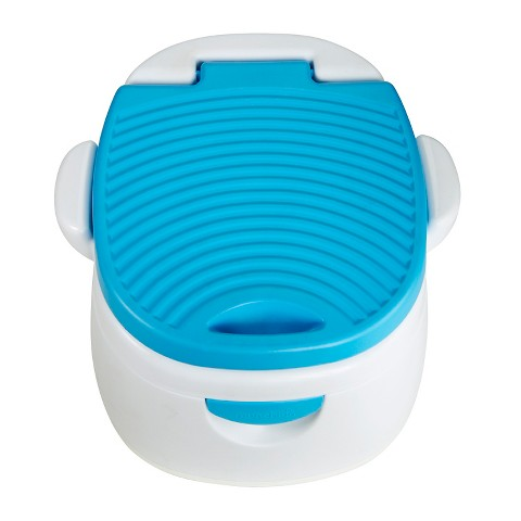 "The virtues of this potty can be summarized as such:  1. Sturdy and portable (with those all important side bars for stability when hunkering down)   2. Separate receptacle for catching waste (so you can pull over and ""dump"" it)   3. Arm & Hammer insert (to keep the odoriferous factor sanely controlled)"