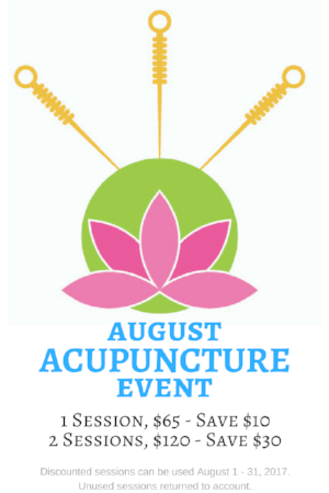The August Acupuncture Event is at Twin Cities locations only.
