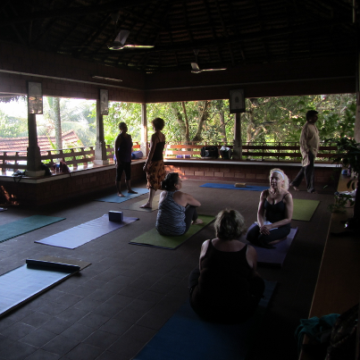 Yoga practice on retreat in India