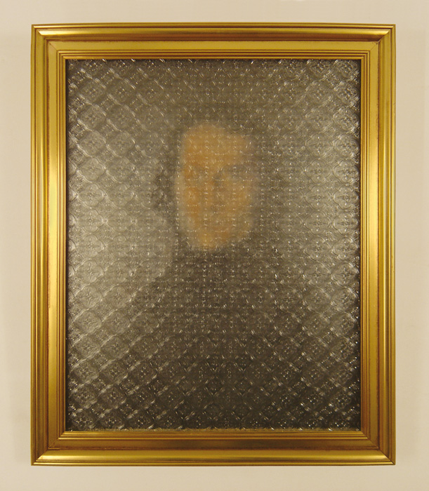 Femme à la fenêtre (autoportrait) 2005, Acrylic on canvas board, golden frame, 'Flora' pattern glass 58 x 47.5 cm