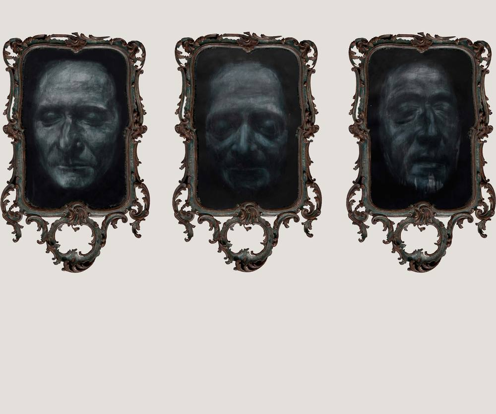 Apparition spirite des masques mortuaires de Jean-Jacques Rousseau, Voltaire et Denis Diderot Triptych, 2012 Charcoal, chalk and varnish on Heritage paper, 113.5 x 83.5 cm (each)
