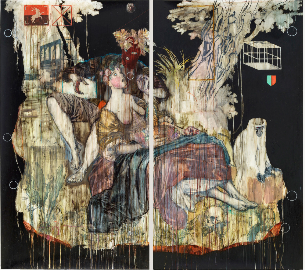 Pastorale I (d'après Boucher) 2015, Mixed media on drafting film 158 x 176 cm (on two panels)