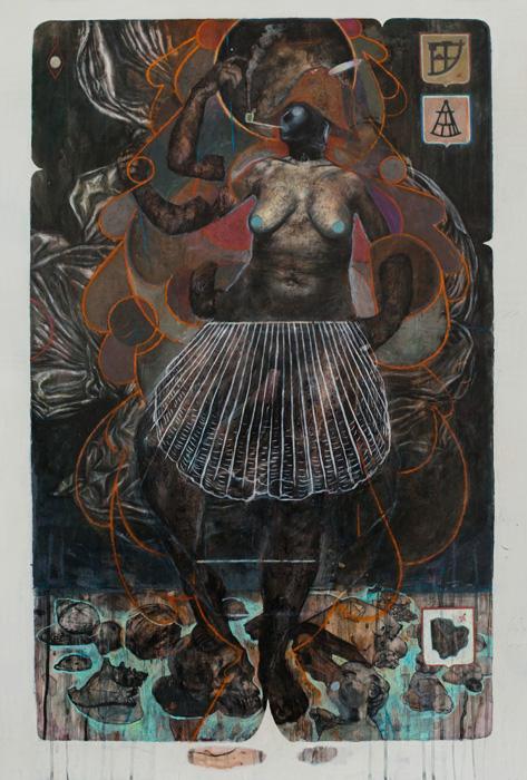 La Domination de la Nature 2014, Mixed media on drafting film 101.5 x 67.5 cm