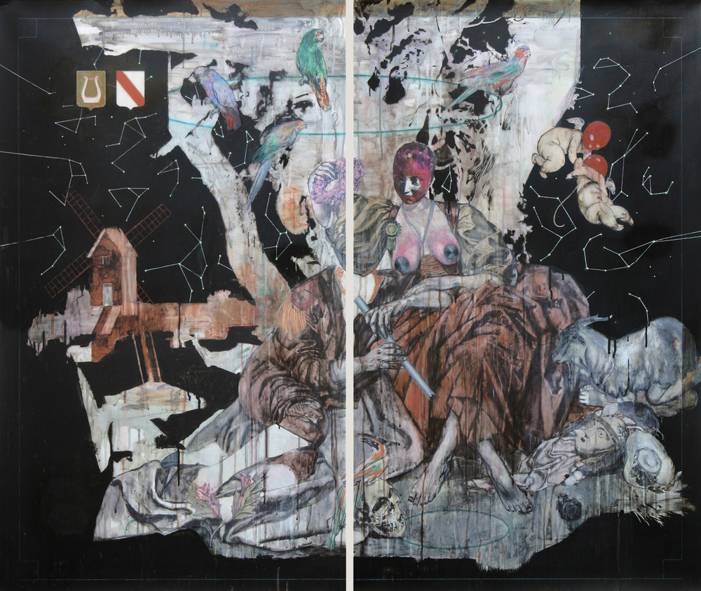 Pastorale II (d'après Boucher)  2015, Mixed media on drafting film 128 x 150 cm (on two panels)