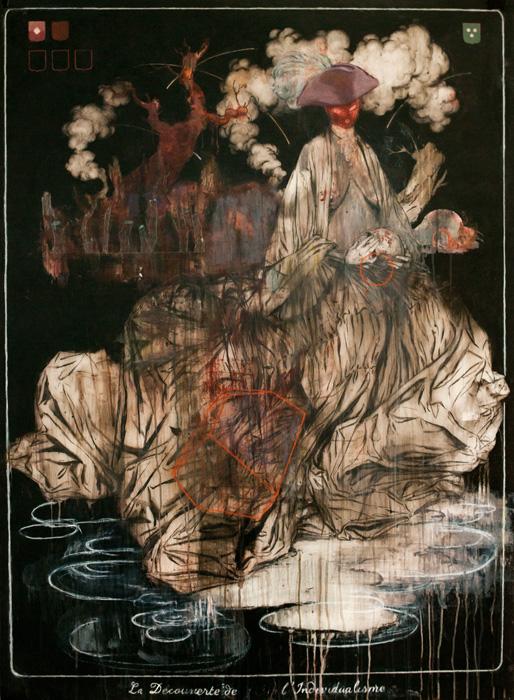 Le Crépuscule du Héros  2014, Mixed media on drafting film 139 x 101.5 cm