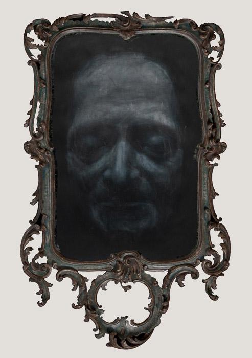 Apparition spirite des masques mortuaires de Jean-Jacques Rousseau, Voltaire et Denis Diderot  (Voltaire) 113,5 x 3,5 cm