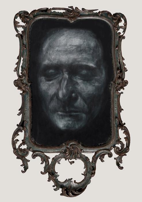 Apparition spirite des masques mortuaires de Jean-Jacques Rousseau, Voltaire et Denis Diderot  (Rousseau) 113,5 x 3,5 cm