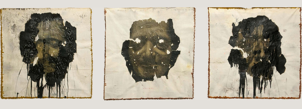 Cult of the Great Men  Triptych, 2012, Charcoal, chalk, varnish and bitumen on Heritage paper mounted on canvas 120 x 120 cm (each)