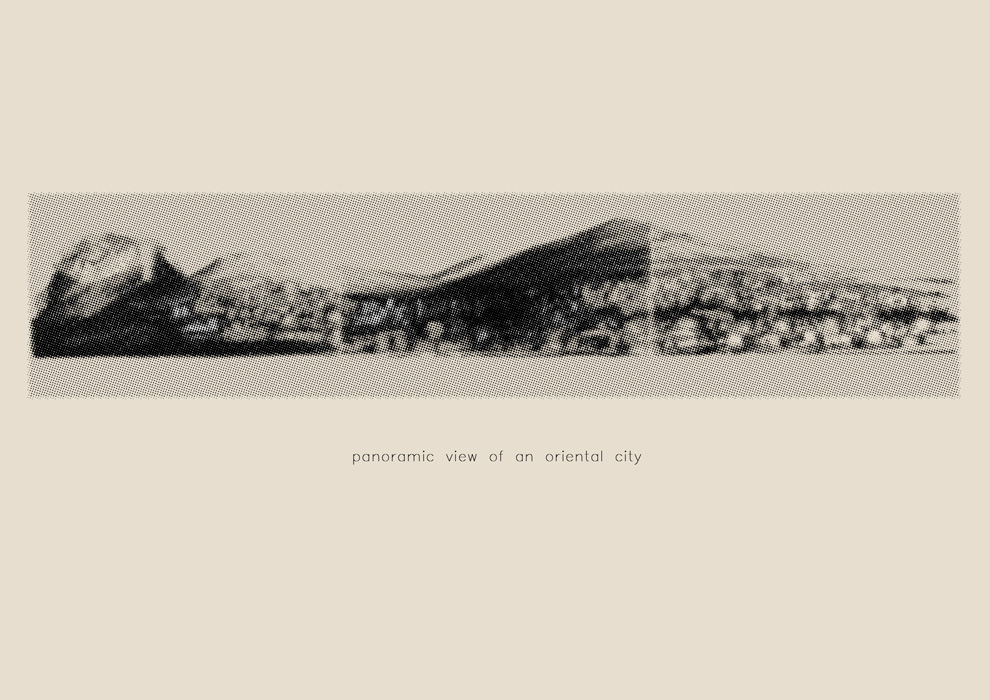 Panoramic View of an Oriental City  2005, Three charcoal drawings on Canson paper pixelated on Photoshop, 23 x 91.5 cm