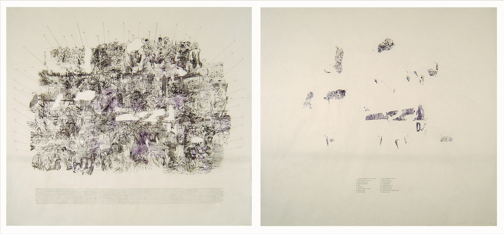 Kosovo '99  1999, Diptych, Carbon drawing on Alpanova paper 136 x 122.5 cm (each)