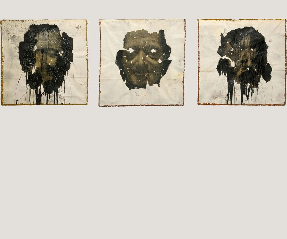 Culte des grands hommes Triptych, 2012 Charcoal, chalk, varnish and bitumen on Heritage paper mounted on canvas 120 x 120 cm (each)
