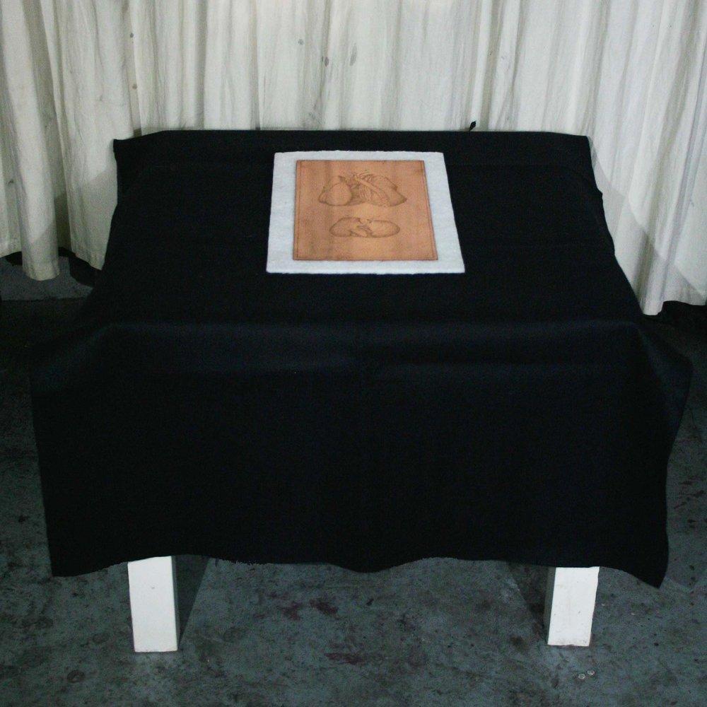 Table de divination  2017, Copper, felt and table