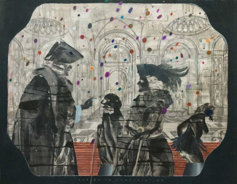 L'art de la conversation  2017, Mixed media on drafting film 47 x 60 cm