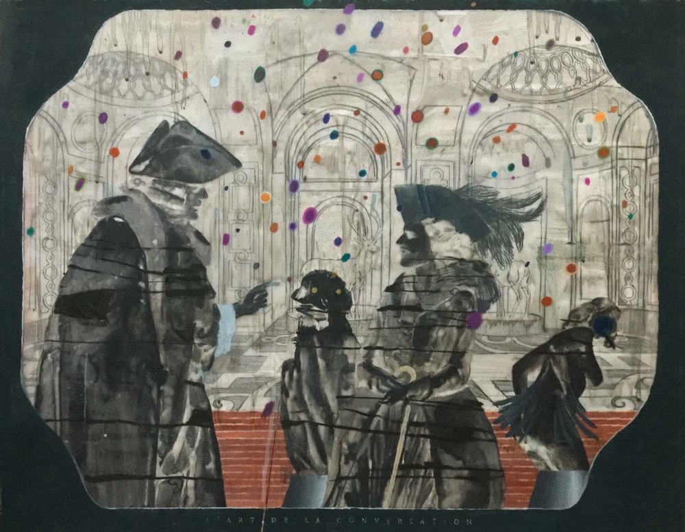 L'art de la conversation – le calembour  2017, Mixed media on drafting film 47 x 60 cm