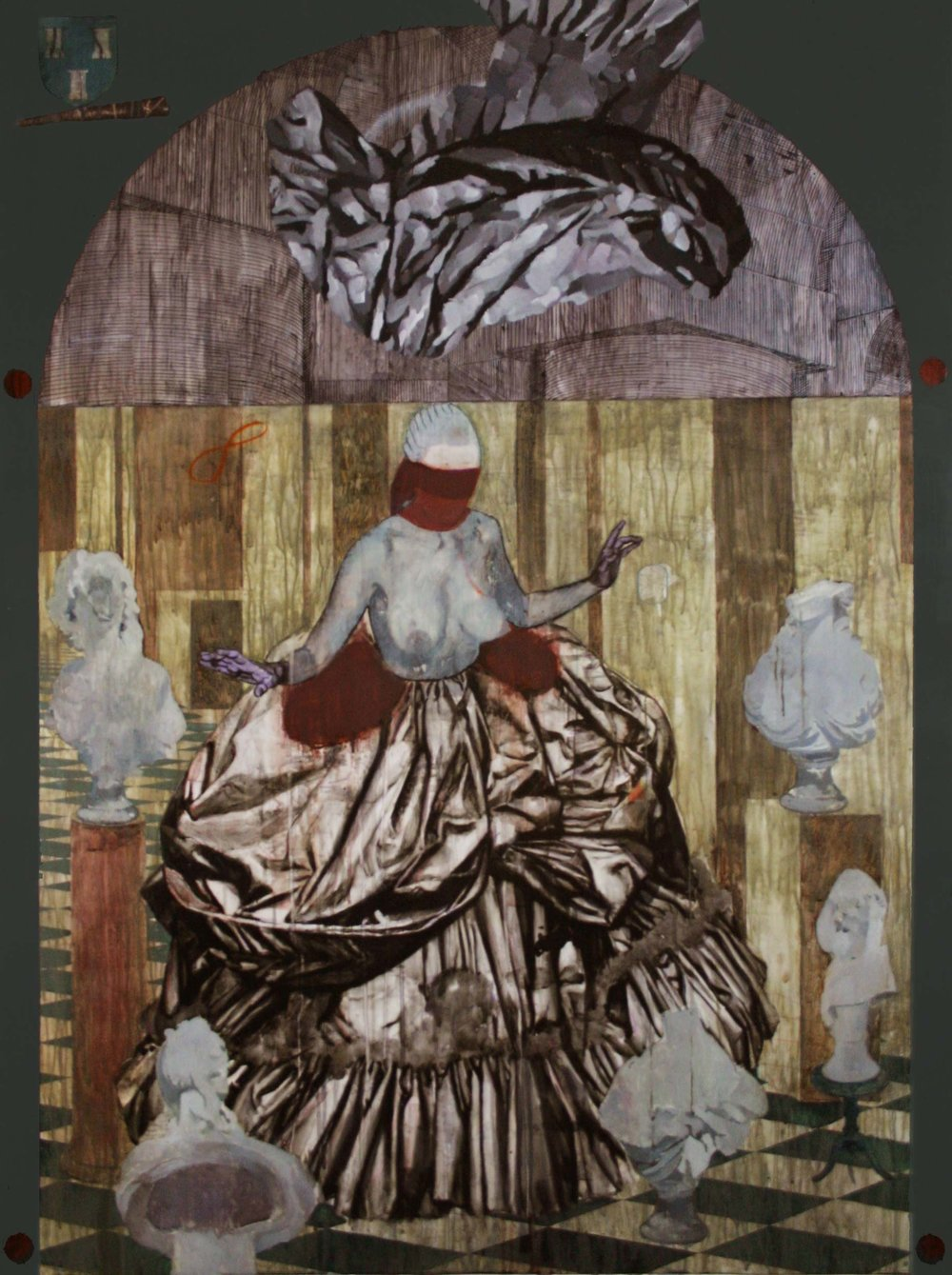 Le Colin-maillard ou la collection en jeu  2016, Mixed media on drafting film 150 x 111 cm