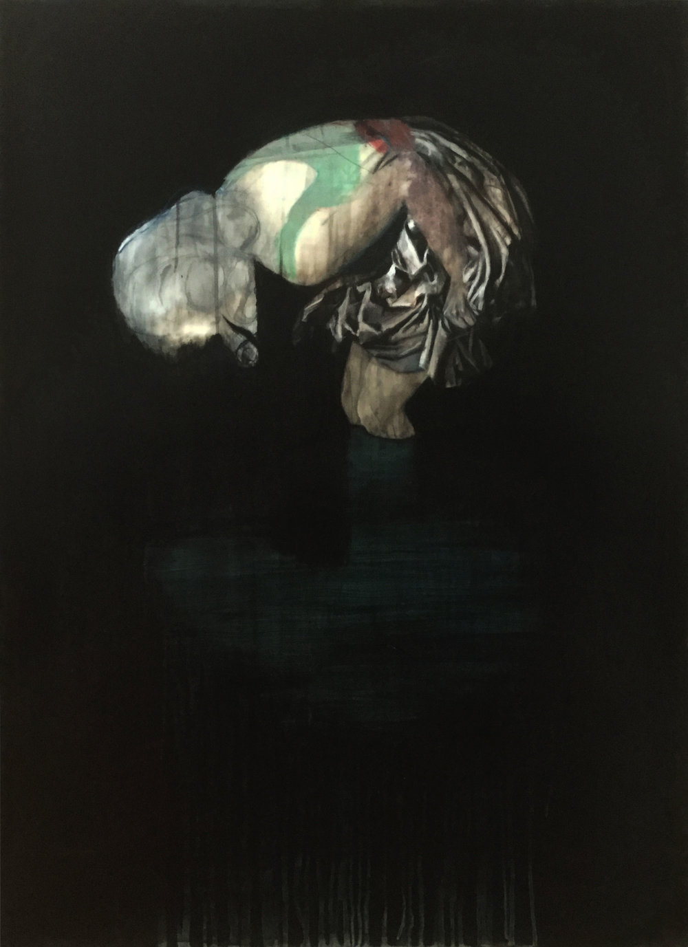 Narcissus  2018, Mixed media on drafting film 122 x 88 cm