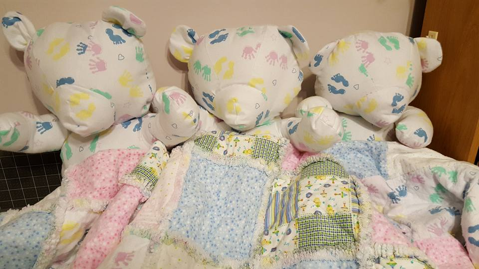 three little bears with their matching quilts, just waiting for baby to arrive!
