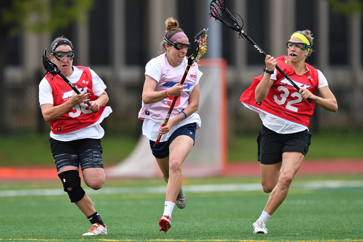 Rachael Goers (left) playing at the 2016 Inaugural Professional United Women's Lacrosse League tryouts.