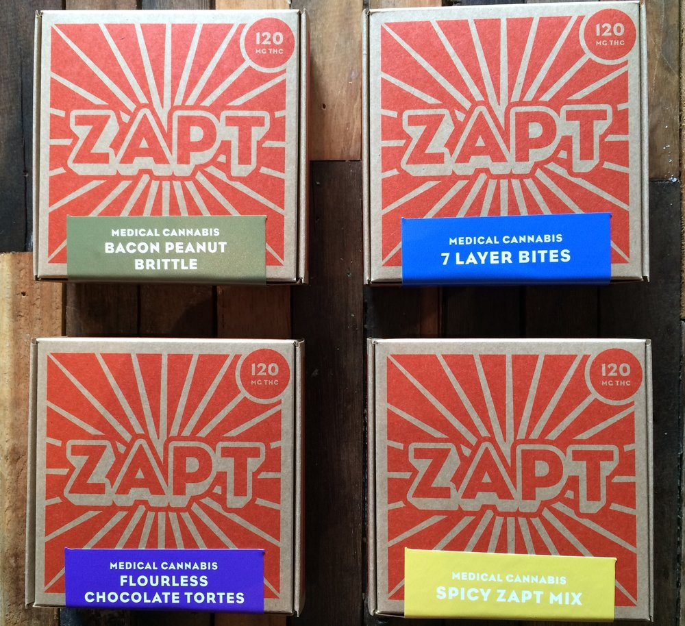 All four Zapt edibles in repose...