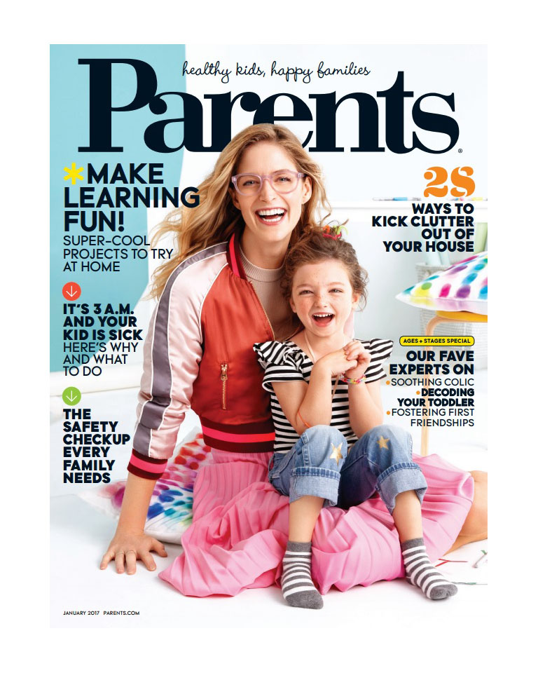 "Parents Magazine cover : January 2017                   SiD NYC Olivia striped bodysuit and ""Gold Dust Woman"" vintage jeans with gold stars"