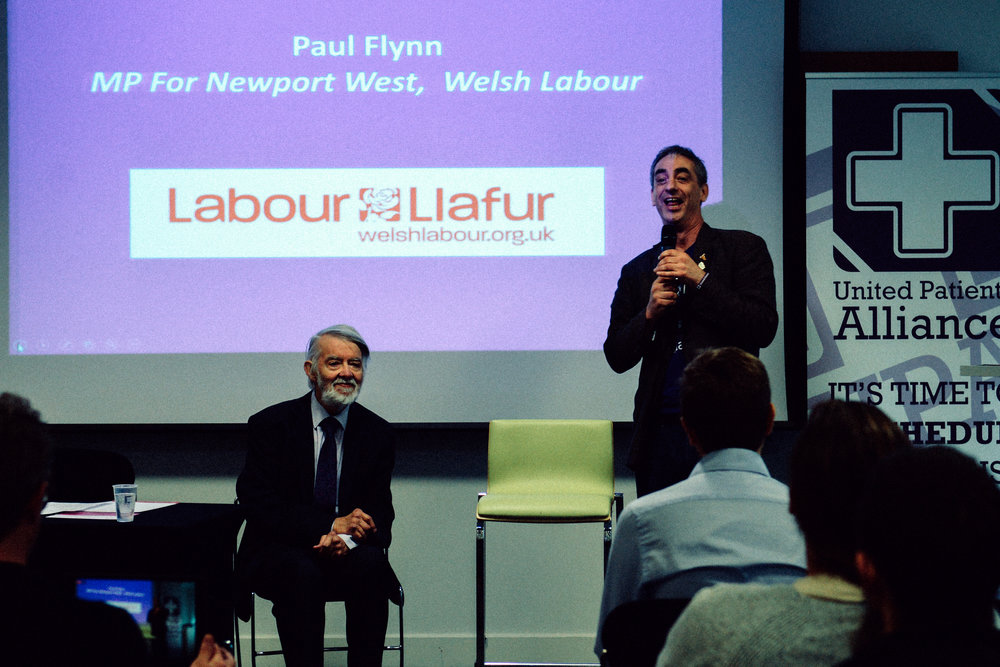 Paul Flynn MP for Newport West and Jon Liebling, Political Director UPA  UPA Medical Cannabis Conference - Birmingham September 30th 2017